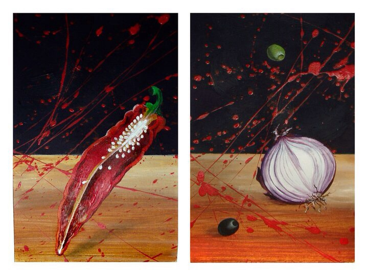 I call this Food Fight in the Kitchen. Painted with water colours and gouache