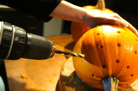 There's something very satisfying about drilling a pumpkin! But please be careful.