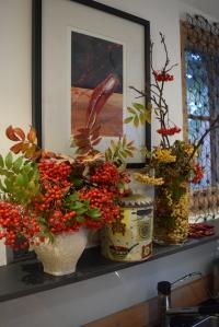 Rowan berries below my painting of a red pepper.
